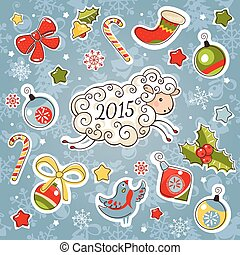New year card with sheep and decoration elements