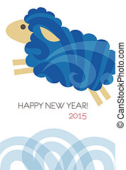 New year card with sheep