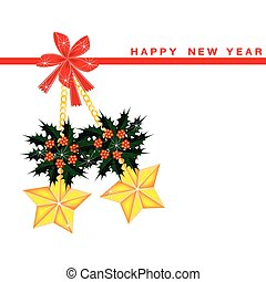 New Year Card with Stars and Christmas Holly