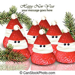 New Year card with strawberries candies Vector. ute Happy Holidays wishes