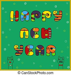 New year card with text by artistic font - New year card...