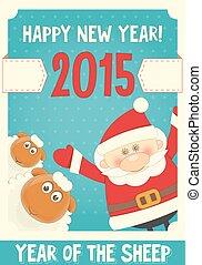 New Year Card with Cute Cartoon Sheep and Santa Claus. Symbol of 2015 year. Year of the Sheep. Vector Illustration.