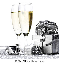 Champagne glasses and gifts - New year cars with Champagne ...
