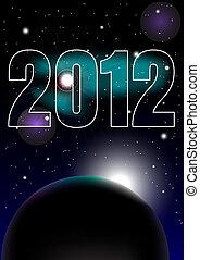 New Year Celebration 2012 Background - Night Sky and 2012...