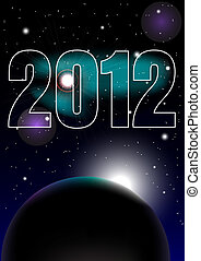 New Year Celebration 2012 Background - Night Sky and 2012...