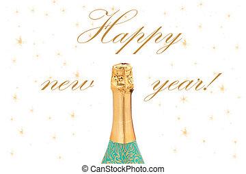 New Year Celebration champagne on white backg