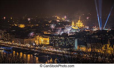 Fireworks over Budapest, Hungary