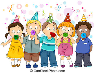 New Year Celebration - Illustration of Kids Celebrating New...