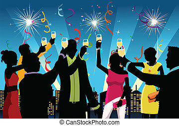 A vector illustration of silhouette of young people having New Year's celebration party