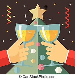 New Year Celebration Success and Prosperity Symbol Hands Holds a Glasses with Drink Icon on Stylish Christmas Tree Background Modern Flat Design Vector Illustration