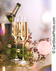 New Year Celebration.Two Champagne Glasses