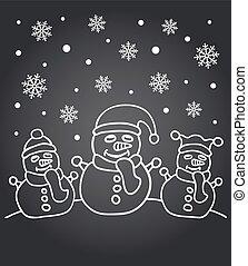New Year chalkboard familly snowmen - New Year chalkboard...