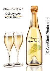 New Year champagne bottle and glasses card. Vector realistic