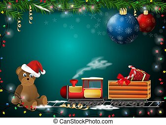 New year Christmas background for decoration design of cards and holiday products gifts Teddy bear and a locomotive that carries gifts on the background of toys gerlyadny and spruce branches vector EPS 10
