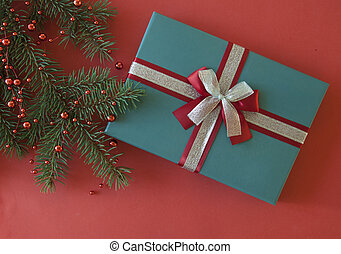 New Year Christmas 2020 holiday celebration present gift box green fir tree branch. Top view