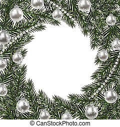 New Year Christmas. A green branch of spruce in a circle and snowflakes. silver balls and beads on a white background. Isolated illustration