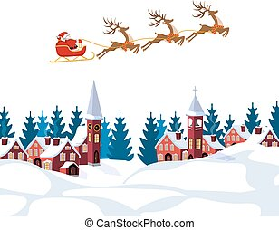 New Year, Christmas. An image of Santa Claus and deer....