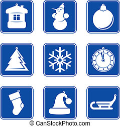 New Year Christmas blue icon set
