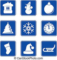 New Year Christmas blue icon set