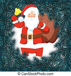 New Year, Christmas card, flyer, invitation. Santa Claus with a bell. Blue branch of spruce in a circle on a white background. Isolated Illustration