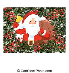 New Year, Christmas card, flyer, invitation. Santa Claus with a bell. Green branch of spruce with berries in a circle on a white background. Isolated Illustration