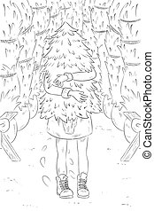 New Year Christmas coloring illustration. Girl shopping for the Christmas tree