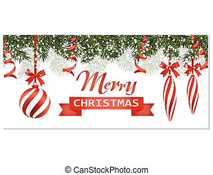New Year Christmas. Flyer, business cards, postcards. Striped balls and candles. Green branches of trees in the snow. A ribbon with an inscription. illustration