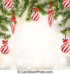New Year Christmas. Greeting card with striped balls and candles. Green branches of fir trees in the snow. illustration