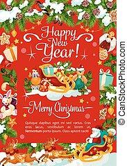 New Year Christmas holiday vector greeting card