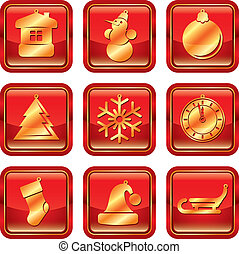 New Year Christmas icon set