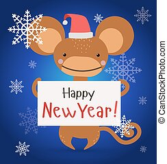 New Year Christmas monkey ape wild cartoon animal holding 2016 board
