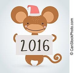 New Year Christmas monkey ape wild cartoon animal holding 2016 board