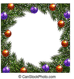 New Year Christmas. Postcard balls with a pattern. Green branches of fir trees in a circle. illustration