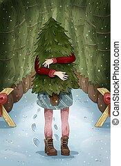 New Year Christmas postcard. Girl shopping for the Christmas tree