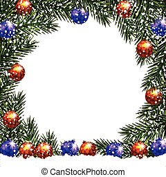 New Year. Christmas. Postcard with a picture. Green branches of fir trees in a circle with balls in the snow. illustration
