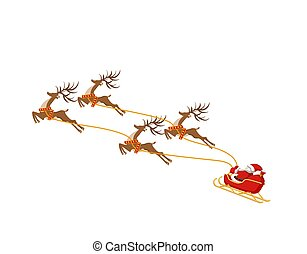 New Year Christmas. Santa Claus on a sleigh drawn by four deer. In color. illustration