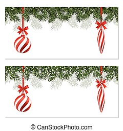 New Year Christmas. Set. Flyer, business cards, postcards. Striped balls and icicles. Green branches of trees in the snow. A ribbon with an inscription. illustration