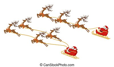 New Year. Christmas. Set. Santa Claus on a sleigh with four and three deer. In color. illustration