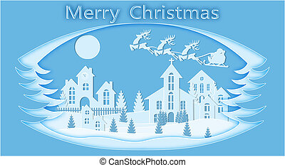 New Year. Christmas. Stylized framework. An image of Santa Claus and deer landscape. cut from blue paper. illustration