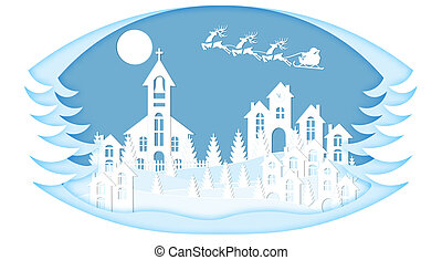 New Year. Christmas. Stylized framework. An image of Santa Claus and deer landscape. cut from white paper. illustration