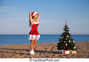 new year Christmas tree Beach Resort Sea girl