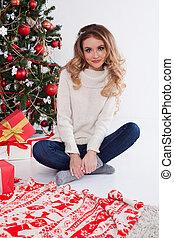 new year Christmas tree girl