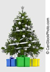 new year christmas tree with gifts on white background. Merry Christmas. happy New Year. 3D render
