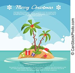 New Year Christmas Vacation Holiday Tropical Ocean Island...
