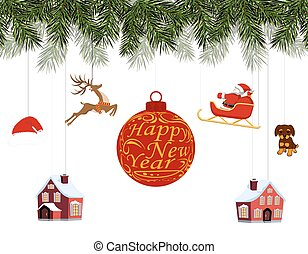 New Year Christmas. Various toys hanging on spruce branches, Santa on sleigh, Santa hat, deer, houses, dog. Happy New Year. illustration