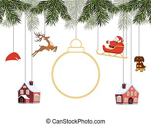 New Year Christmas. Various toys hanging on spruce branches, Santa on sleigh, Santa hat, deer, houses, dog. Place for text, advertising. illustration