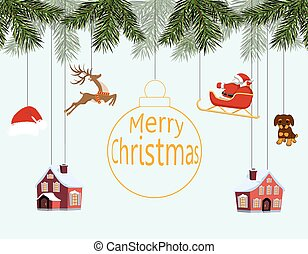 New Year Christmas. Various toys hanging on spruce branches, Santa on sleigh, Santa hat, deer, houses, dog. Merry Christmas. illustration