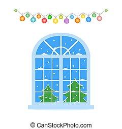 New Year, Christmas window. Winter landscape.