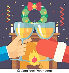New Year Christmas with Santa Claus Celebration Success and Prosperity Symbol Hands Holds a Glasses Drink Icon on Stylish Fireplace Background Modern Flat Design Vector Illustration