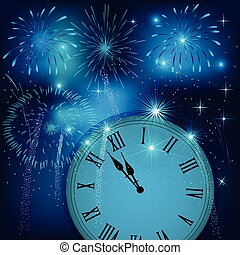New year clock counting down with colorful fireworks